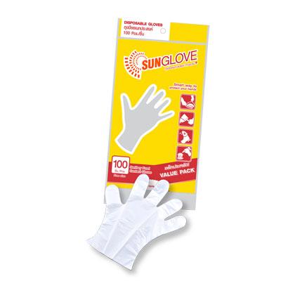 ถุงมือพลาสติก (แพ็ค 100 ใบ) ซันโกลฟ