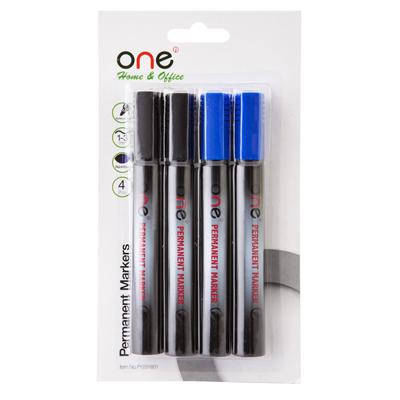 ปากกามาร์คเกอร์ คละสี (นง.ดำ) (แพ็ค4ด้าม) ONE PY231601