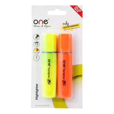ปากกาเน้นข้อความ เหลือง-ส้ม (แพ็ค2ด้าม) ONE HY254400