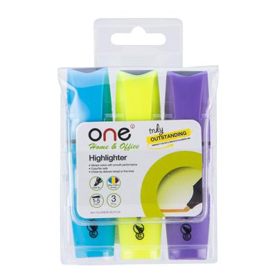 ปากกาเน้นข้อความ คละสี (แพ็ค3ด้าม) ONE AH636-1