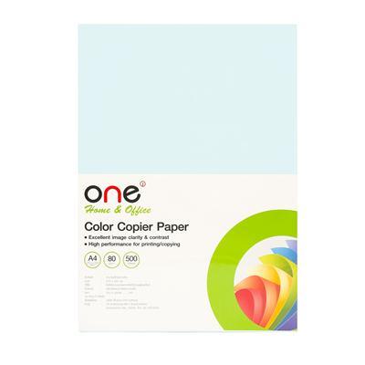 กระดาษสีถ่ายเอกสาร 1 A4 80 แกรม ฟ้าอ่อน (500แผ่น) ONE