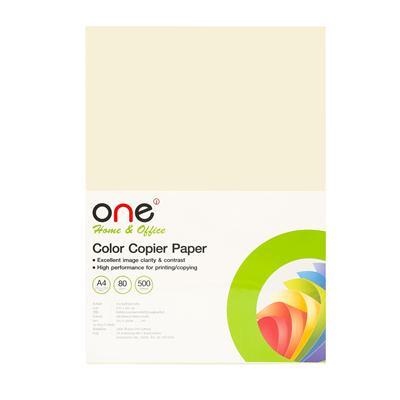 กระดาษสีถ่ายเอกสาร 10 A4 80 แกรม ครีม (500แผ่น) ONE