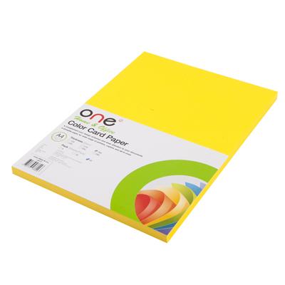กระดาษการ์ดสี 21 160 แกรม เหลืองเลม่อน (50แผ่น) ONE
