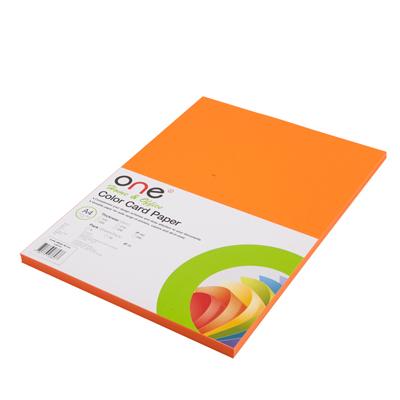กระดาษการ์ดสี 24 160 แกรม ส้มเข้ม (แพ็ค50แผ่น) ONE