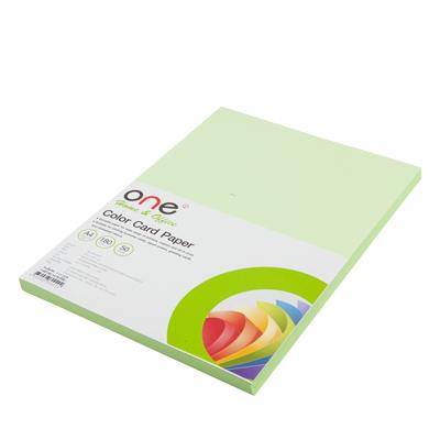 กระดาษการ์ดสี A4 180 แกรม เขียว (50แผ่น) ONE