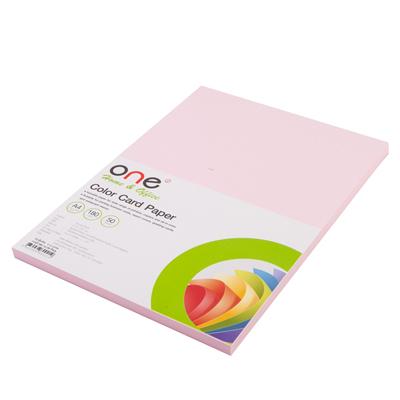 กระดาษการ์ดสี A4 180 แกรม ชมพู (50แผ่น) ONE
