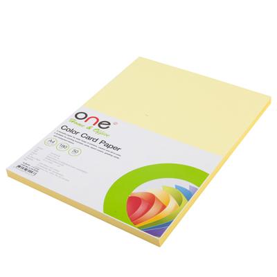 กระดาษการ์ดสี A4 180 แกรม เหลือง (50แผ่น) ONE