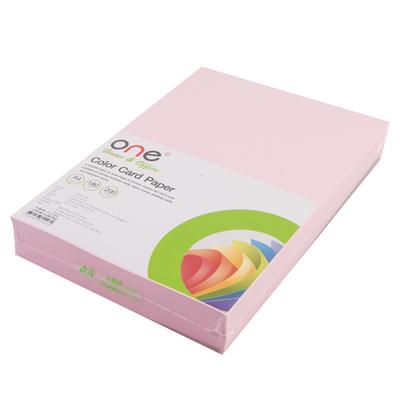 กระดาษการ์ดสี A4 180 แกรม ชมพู (200แผ่น) ONE