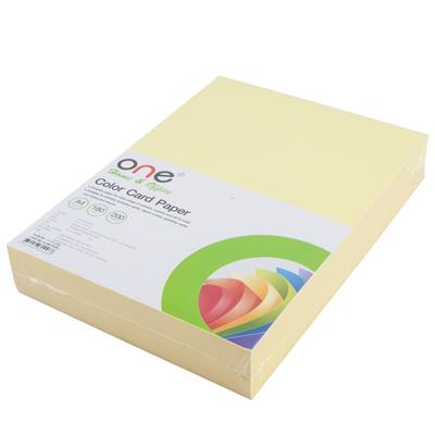กระดาษการ์ดสี A4 180 แกรม เหลือง (200แผ่น) ONE