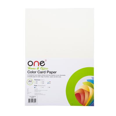 กระดาษการ์ดสี No.01 A4 285แกรม ครีมมุก (4แผ่น) ONE