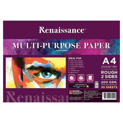 กระดาษวาดเขียนสีน้ำ A4 200แกรม (50แผ่น/แพ็ค) เรนาซองซ์
