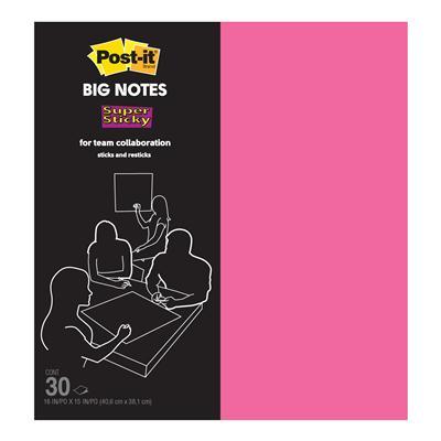 กระดาษโน้ต(ใหญ่) B16P 15x16นิ้ว ชมพู(30แผ่น) โพสต์-อิท