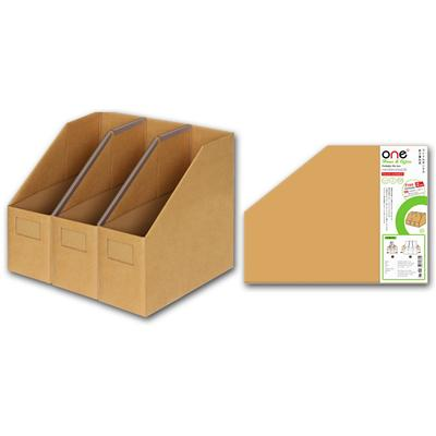 กล่องใส่เอกสารพับได้ 3ช่อง น้ำตาล ONE Non-Seriese