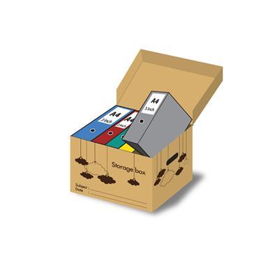 กล่องเก็บเอกสารพับได้ ฝาในตัวน้ำตาล ลายก้อนเมฆ ONE