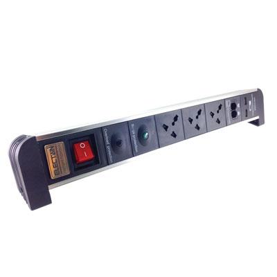 ปลั๊กไฟคอมพิวเตอร์ 3ช่อง 2USB สีขาว Electon TE-ICOM3