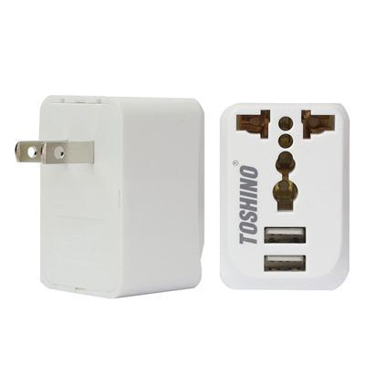 ปลั๊กแปลงขาแบบ 2 USB ขาว โตชิโน PU-E