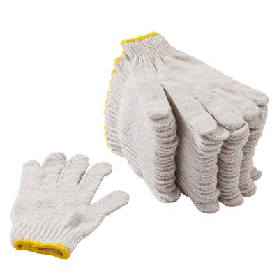 ถุงมือผ้าดิบ ขอบเหลือง (แพ็ค12คู่) พี.เค.