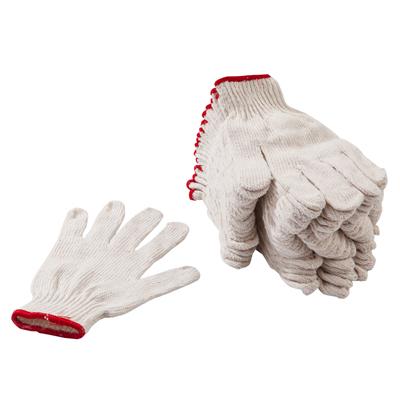 ถุงมือผ้าดิบ ขอบแดง (แพ็ค12คู่) พี.เค.
