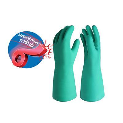 ถุงมือยางไนไตร 15 มิล XL เขียว ไมโครเท็กซ์ Hi Chem Plus