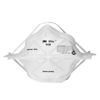 หน้ากากกันฝุ่นพับได้ (กล่อง50ชิ้น) 3M 9105 VFLEX N95