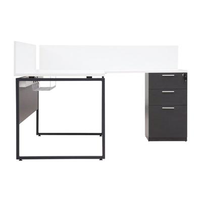 โต๊ะทำงาน ขาว-เทาดำ เฟอร์ราเดค ML1416R+MLPS140
