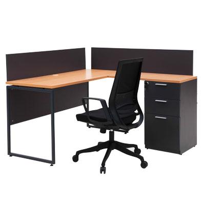 โต๊ะทำงาน บีช-เทาดำ เฟอร์ราเดค ML1414R+MLPS140