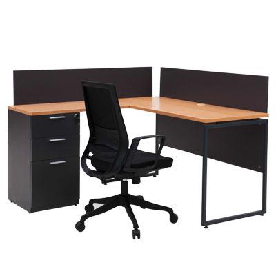 โต๊ะทำงาน บีช-เทาดำ เฟอร์ราเดค ML1414L+MLPS140