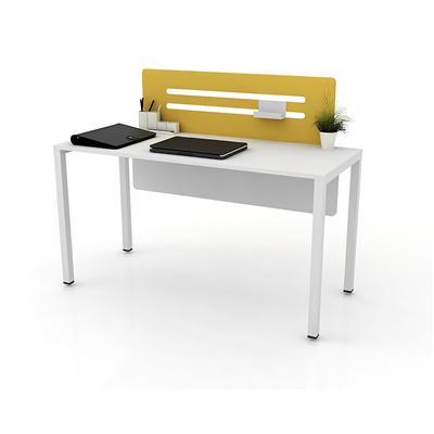 โต๊ะทำงาน สีขาว สกรีนเหลือง เฟอร์ราเดค LINE-B