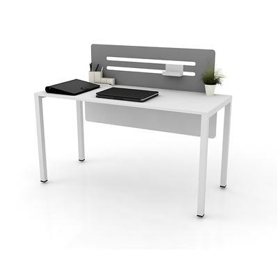 โต๊ะทำงาน สีขาว สกรีนเทา เฟอร์ราเดค LINE-B
