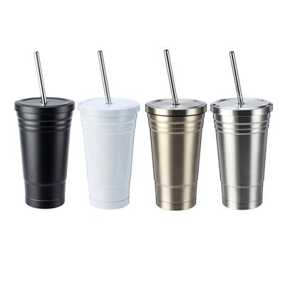 แก้วสแตนเลส+หลอด+สกรีน 1สี 1จุด Premium MG-163