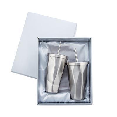 ชุดแก้วน้ำสแตนเลส+สกรีนโลโก้ 1สี 2จุด Premium MGS-1723