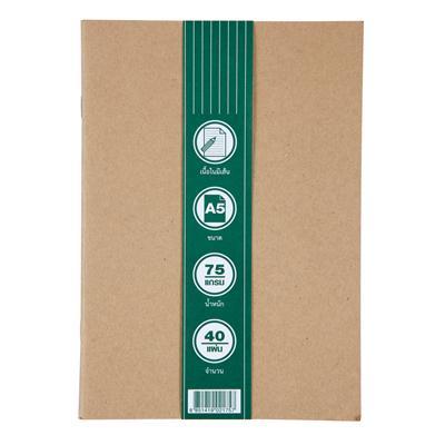 สมุดโน้ตเย็บลวด A5+พิมพ์ปก 1สี1จุด Premium ECO-W-A540-L